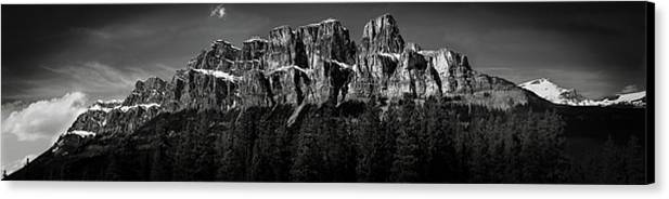 Horizontal Canvas Print featuring the photograph Castle Mountain Panoramic by Brent Mooers