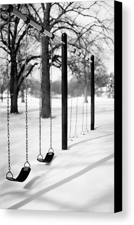Vertical Canvas Print featuring the photograph Deep Snow & Empty Swings After The Blizzard by Trina Dopp Photography
