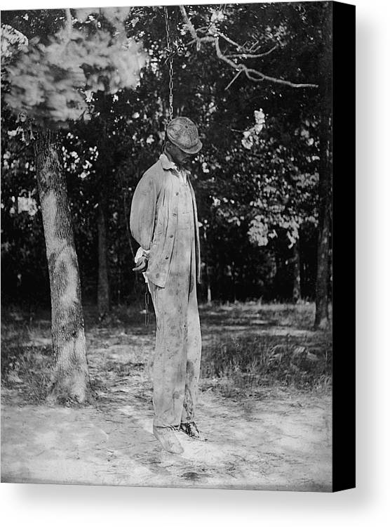 Historical Canvas Print featuring the photograph Anonymous African American Lynching by Everett
