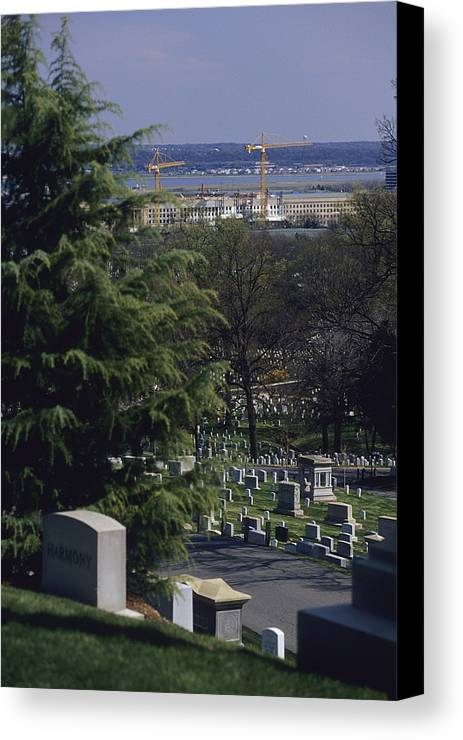 North America Canvas Print featuring the photograph The Pentagon Looms Behind Arlington by Raymond Gehman