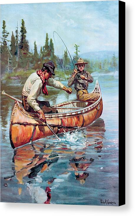 Fishing Canvas Print featuring the painting Two Fishermen In Canoe by Phillip R Goodwin