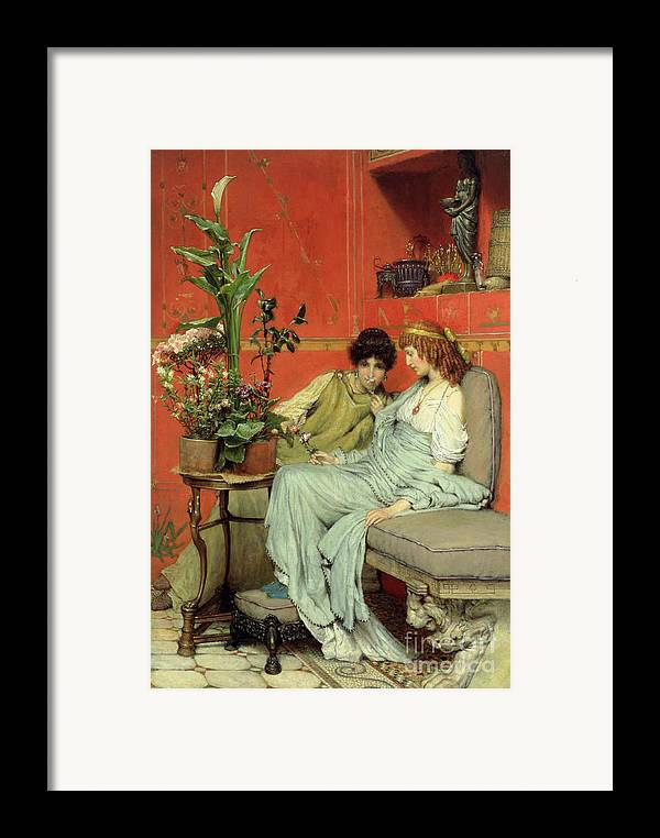 Confidences Framed Print featuring the painting Confidences by Sir Lawrence Alma-Tadema