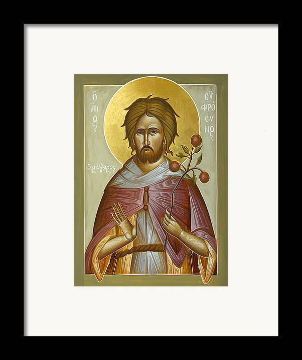 St Euphrosynos The Cook Framed Print featuring the painting St Euphrosynos The Cook by Julia Bridget Hayes