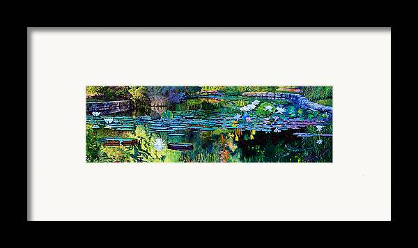Water Lilies Framed Print featuring the painting The Abstraction Of Beauty One And Two by John Lautermilch