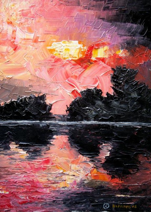Lake After Storm Greeting Card featuring the painting Sunset. After Storm. by Sergey Bezhinets