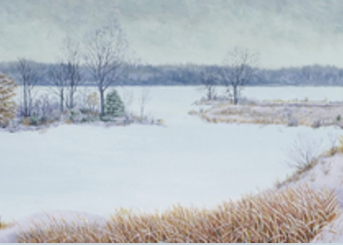 Panorama Greeting Card featuring the painting Winter Lake And Cedars by Garry McMichael