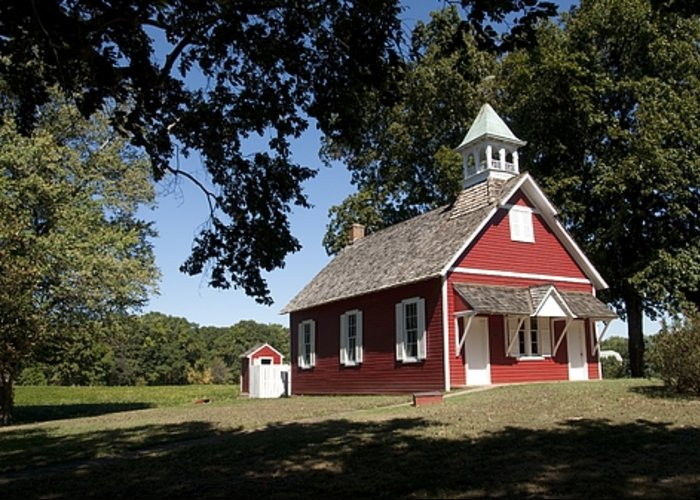 Little Red School House Architecture Historic Building Greeting Card featuring the photograph Little Red School House by Charles Kraus