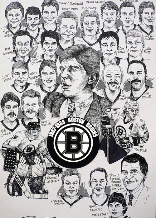 Championship Poster Greeting Card featuring the drawing 1988 Boston Bruins Newspaper Poster by Dave Olsen