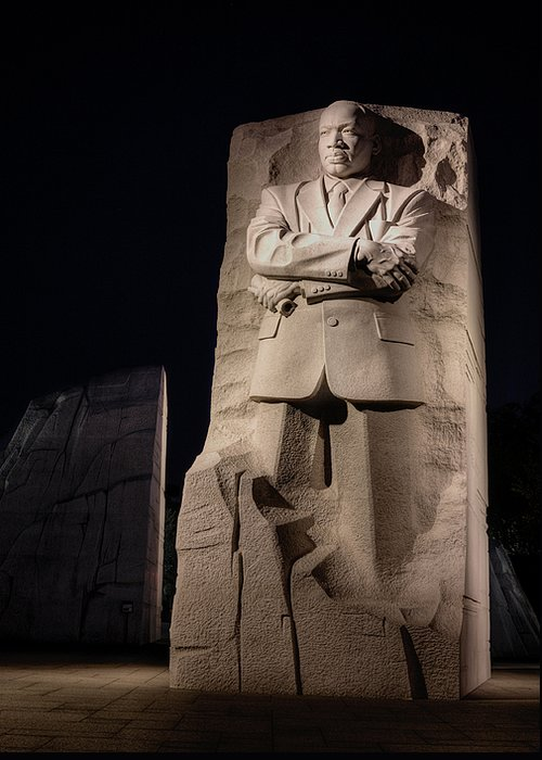 Mlk Martin Luther King Jr Junior Jr. Memorial Washington Dc Out Of The Moutain Of Dispair A Stone Of Hope Black History Month Historic Patriotic African American Hero Heroes. Greeting Card featuring the photograph A Stone Of Hope by JC Findley
