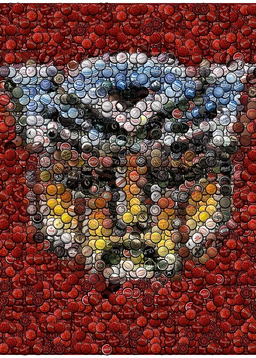 Transformers Greeting Card featuring the digital art Autobot Transformer Bottle Cap Mosaic by Paul Van Scott