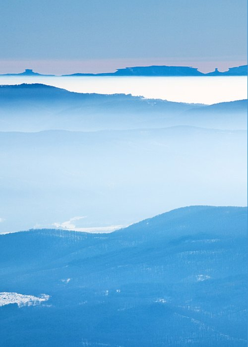 Haze Greeting Card featuring the photograph Blue Haze by Evgeni Dinev
