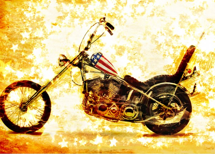 Easy Rider Greeting Card featuring the mixed media Captain America by Russell Pierce