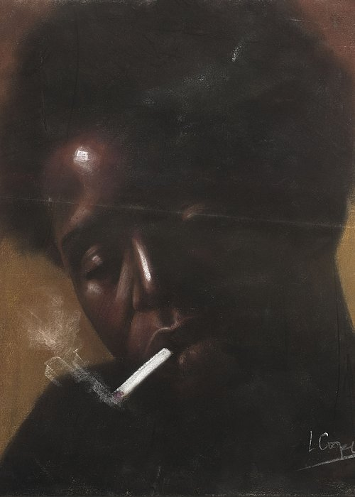 L Cooper Greeting Card featuring the pastel Cigarette Smoker by L Cooper