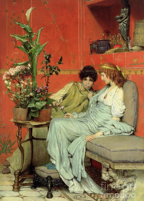 Confidences Greeting Card featuring the painting Confidences by Sir Lawrence Alma-Tadema