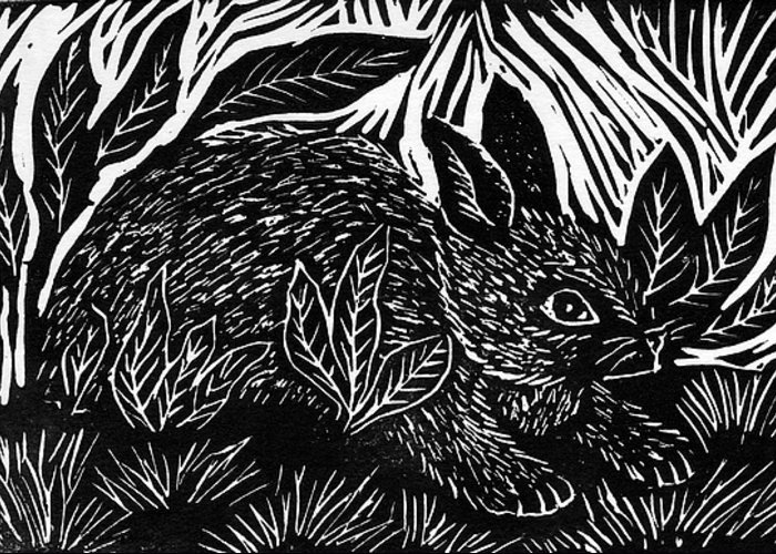 Lino Greeting Card featuring the mixed media Cottontail Block Print by Ellen Miffitt