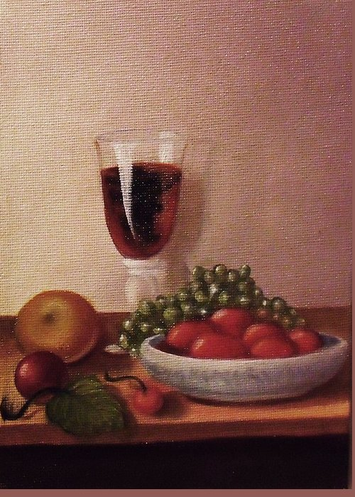 Fruit And Wine Greeting Card featuring the painting Fruit And Wine  A by Helen Thomas