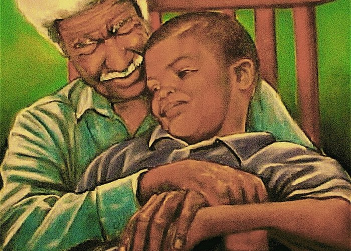 Grandpa And Me Greeting Card featuring the pastel Grandpa And Me by Curtis James
