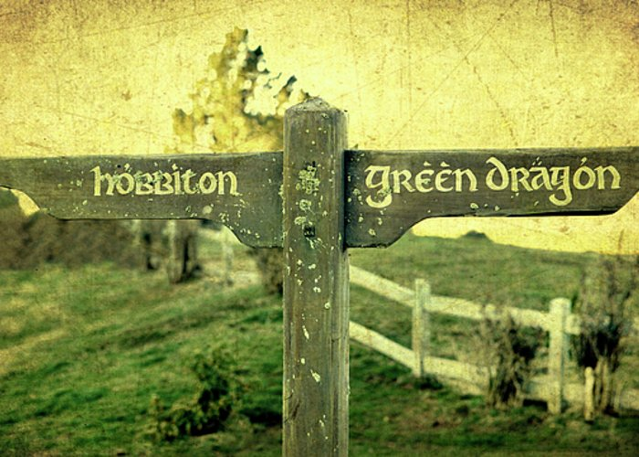 Hobbiton Greeting Card featuring the photograph Hobbiton Signage by Linde Townsend