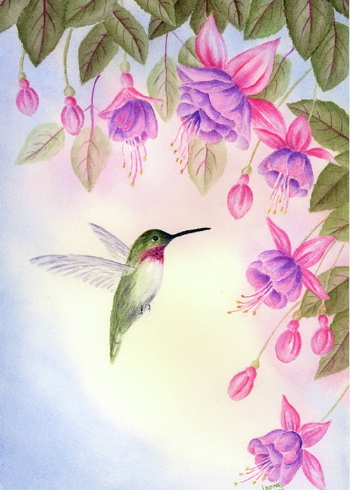 Hummingbird Greeting Card featuring the painting Hummingbird With Fuchsia by Leona Jones