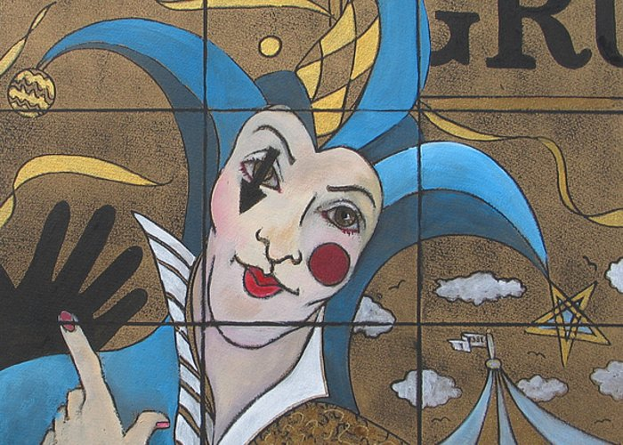 Jester Painting Greeting Card featuring the painting Jester In Blue by Susanne Clark