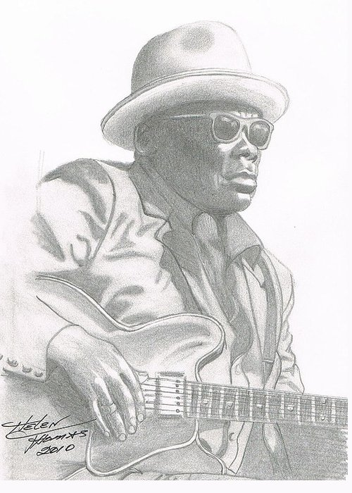 John Lee Hooker Greeting Card featuring the drawing Jlh E by Helen Thomas