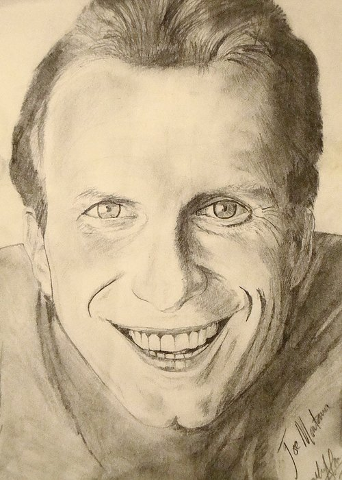 49ers Legend Greeting Card featuring the drawing Joe Montana by Art by AK