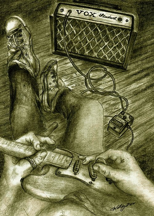 Guitar Player Portrait Greeting Card featuring the drawing Just Playin Around by Kathleen Kelly Thompson