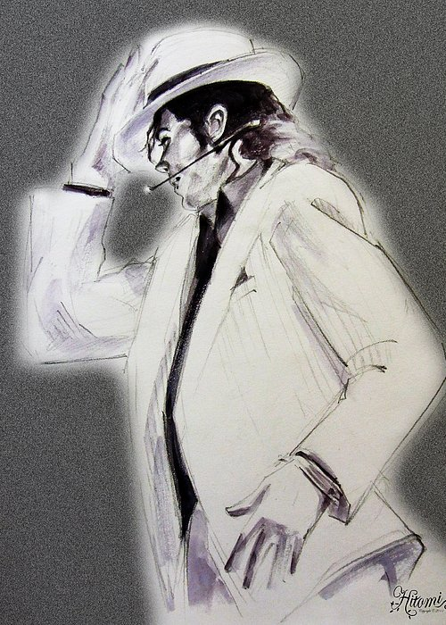 Michael Jackson Greeting Card featuring the drawing Michael Jackson - Smooth Criminal In Tii by Hitomi Osanai