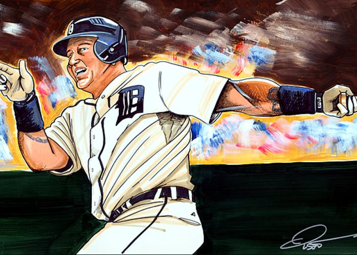 Miguel Cabrera Greeting Card featuring the drawing Miguel Cabrera by Dave Olsen