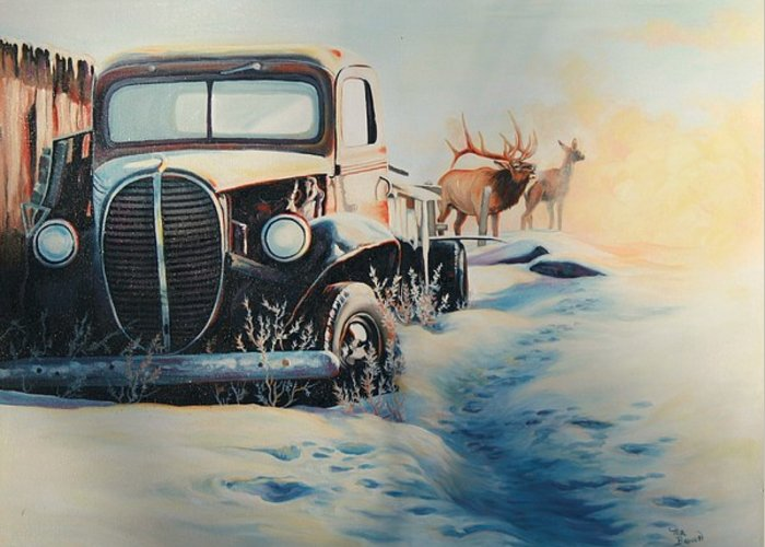 Antique Car Greeting Card featuring the painting Morning Rays by Ma Brown Robbins
