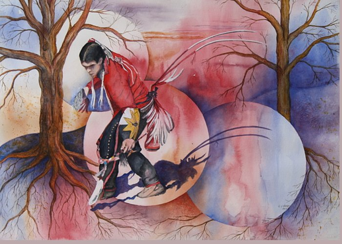 Native American Spirit Portrait Greeting Card featuring the painting Red Dancer by Patsy Sharpe