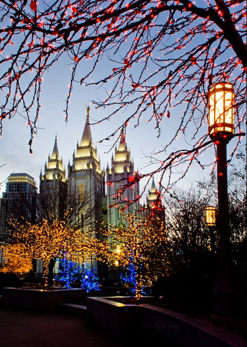 Temple Greeting Card featuring the photograph Slc Temple Lights Lamp by La Rae Roberts