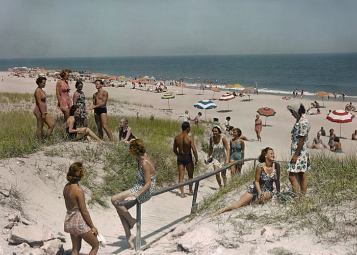 Rehoboth Greeting Card featuring the photograph Sunbathers And Beach Umbrellas Dot by Willard Culver