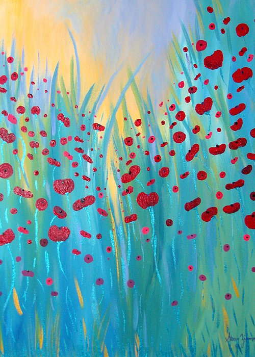 Poppies Greeting Card featuring the painting Sunlit Poppies by Stacey Zimmerman