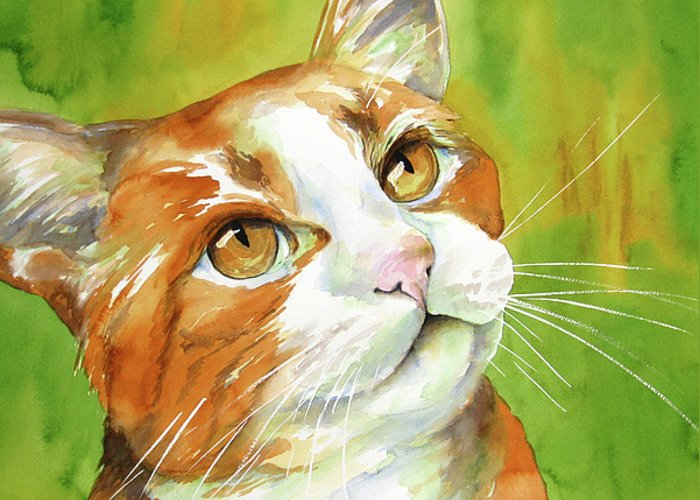 Cat Greeting Card featuring the painting Tan And White Domestic Cat by Cherilynn Wood