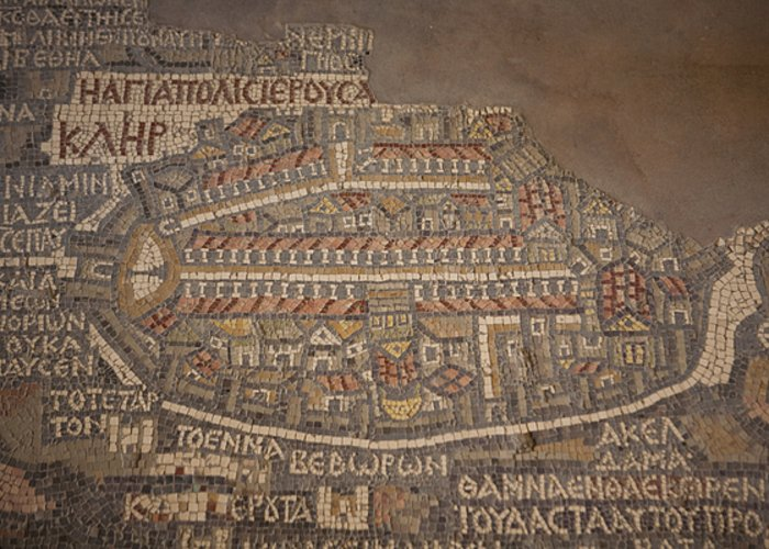 Madaba Greeting Card featuring the photograph The Earliest Known Map Of The City by Taylor S. Kennedy