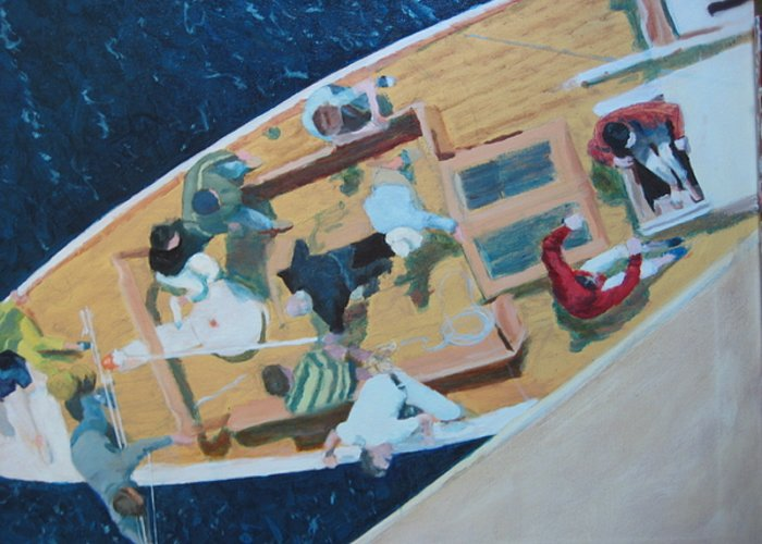 Sailboat Greeting Card featuring the painting The Grissette by Brian McCoy