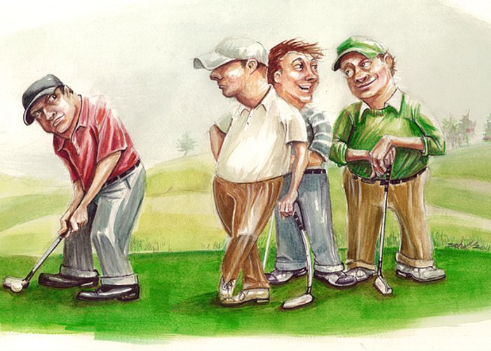 Golf Greeting Card featuring the painting The Mouth by Michael Scholl