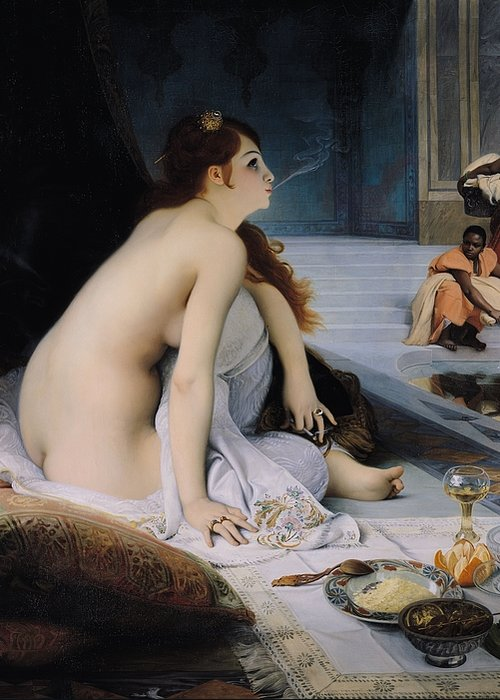 Orientalist; Female; Nude; Sitting; Floor; Food; Still Life; Baths; Black; Washing; Wringing Out Clothes; Smoking Cigarette; Slavery; Hairpin; Interior; Harem; Esclave; Female Greeting Card featuring the painting The White Slave by Jean Jules Antoine Lecomte du Nouy