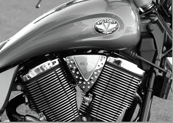 Black And White Greeting Card featuring the photograph Victory Motorcycle Virginia City Nv by Troy Montemayor