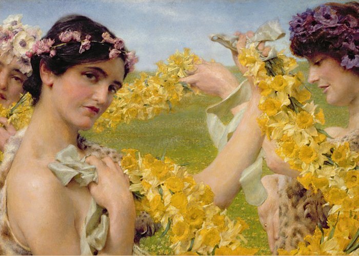 When Flowers Return Greeting Card featuring the painting When Flowers Return by Sir Lawrence Alma-Tadema