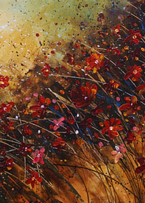 Red Flowers Greeting Card featuring the painting Wild by Michael Lang