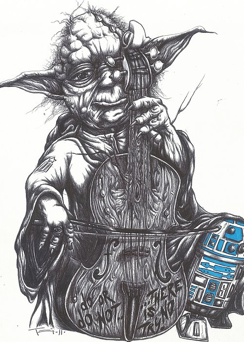 Yoda Greeting Card featuring the drawing Yoda Soothes Baby R2 With The Charm Of His Homegrown Cello by Tai Taeoalii