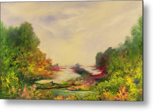 Landscape; Mystical; Dawn Metal Print featuring the painting Summer Joy by Hannibal Mane