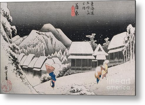 Night Snow Metal Print featuring the painting Night Snow by Hiroshige