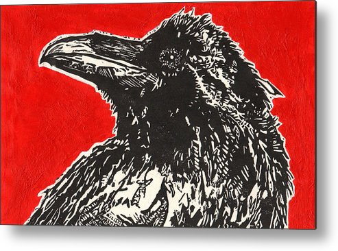Linocut Metal Print featuring the painting Red Hot Raven by Julia Forsyth