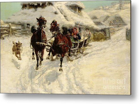 Winter Metal Print featuring the painting The Sleigh Ride by JFJ Vesin
