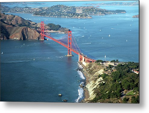 Horizontal Metal Print featuring the photograph Golden Gate Bridge by Stickney Design