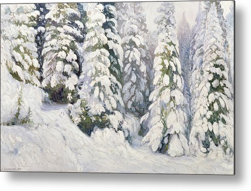 Winter Metal Print featuring the painting Winter Tale by Aleksandr Alekseevich Borisov