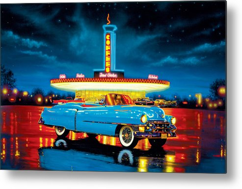 Car Metal Print featuring the photograph Cadillac Diner by MGL Studio - Chris Hiett
